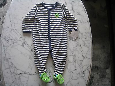 NWT Carters Boys size 9 months terry cloth Monster footed pajamas