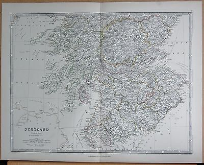 1874  Large Antique Map - Johnston- Scotland  Southern Glasgow Edinburgh, Arran