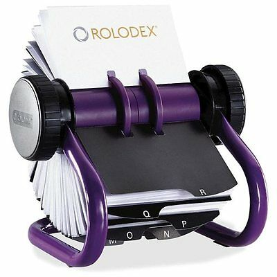 Rolodex Open Rotary Business Card File with 200x Cards Purple 1819543  ��