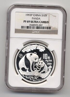 1993 P China Proof 1oz Silver Panda S10Y Coin NGC PF 69 Ultra Cameo