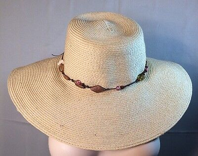 APOSTROPHE Soft Beige Wide Brim Beaded Band Packable Travel Hat ONE SIZE