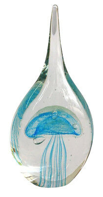Glass Blue Jellyfish Droplet Shaped Glass Paper Weight  .. 9 x 9 x 19CM
