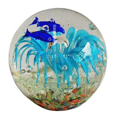 Heavy Glass Fish School Round Shaped Glass Paper Weight