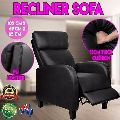 Faux Leather Lounge Cinema Armchair Recliner Black Home Furniture Chair