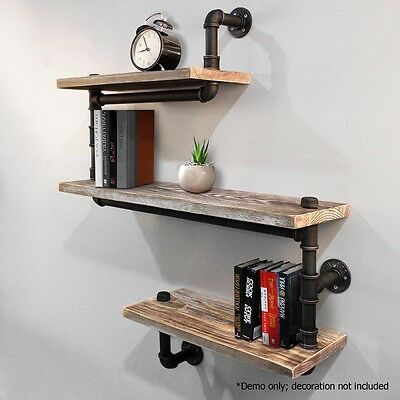 Rustic Industrial DIY Floating Pipe Shelf Snake Design Décor Wall Office Bedroom