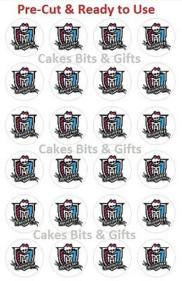 24 x MONSTER HIGH LOGO Edible Wafer Cupcake Cake Toppers Pre Cut & Ready to Use.