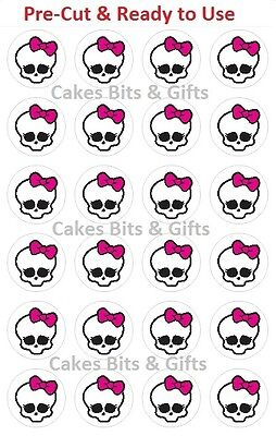 24 x MONSTER HIGH SKULLETTE Edible Wafer Cupcake Toppers PreCut & Ready to Use.