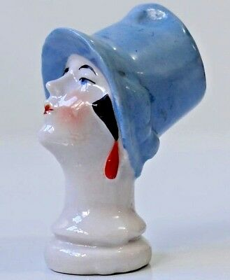 Antique ART DECO Lovely Half Doll Lady Head Art Deco Flapper Cloche Hat