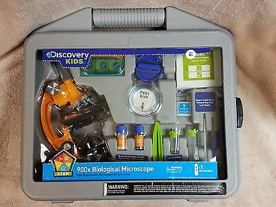 Discovery Kids 900x Biological Microscope W Carrying Case Interactive New