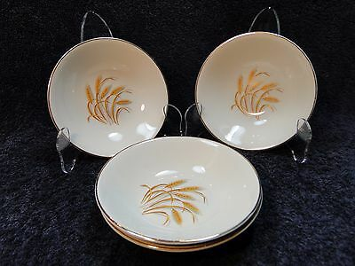 Homer Laughlin Golden Wheat Berry Fruit Dessert Bowls FOUR Bowls EXCELLENT!