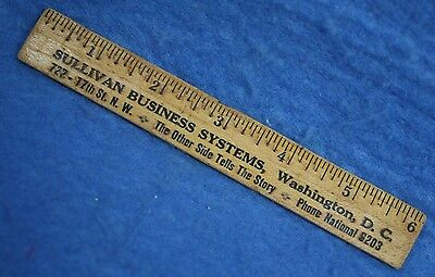 "Vintage 6"" Wood Ruler Advertising Sullivan Business Systems Washington, D.c."