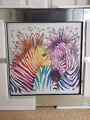 Colourful Zebras Liquid Glass Art with crystals mirrored frame (60cmx60cm)