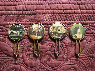 4 Vintage Celluloid ADVERTISING Pocket Mirrors with handles