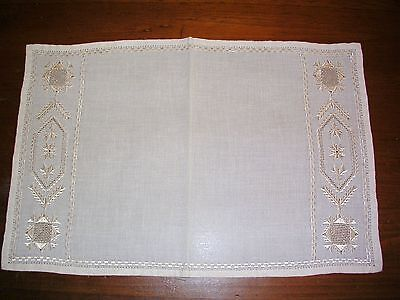 Lovely Antique Table Doily - Open Work - Embroidery - Ecru
