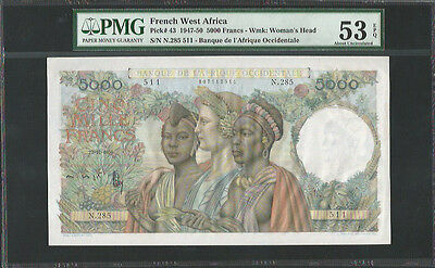 French West Africa 1950 P-43 PMG About UNC 53 EPQ 5000 Francs