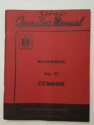 Vintage IH Operators Manual ~ McCormick No.91 Combine