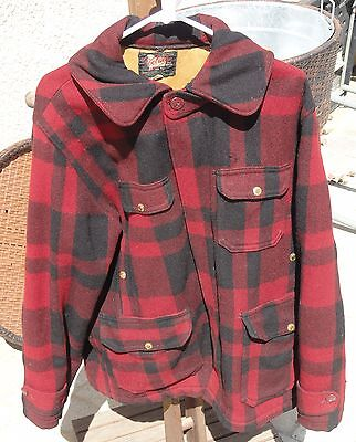 Vintage Woolrich Red Plaid Mackinaw Wool Men's Hunting Jacket Coat 44 XL Lined