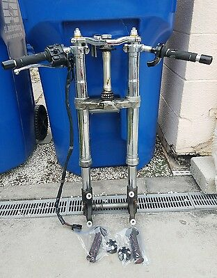 05 06 Kawasaki Zx6R Zx636 Chrome Front Forks Clip Ons Suspension Triple Axle