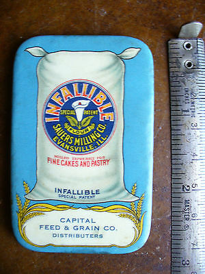 Celluloid Advertising pocket mirror Infallible Flour Beautiful color & Graphics