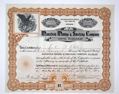 Arizona ~  MANSFIELD MINING & SMELTING CO. ~  Vintage Stock Certificate  (1907)