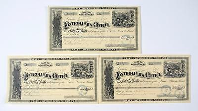 Nevada State Controllers Warrants (1879) 3 Autographed Pieces
