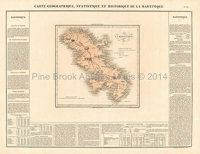 Martinique Antique Map Original Caribbean Home Decor Gift Ideas Buchon 1825