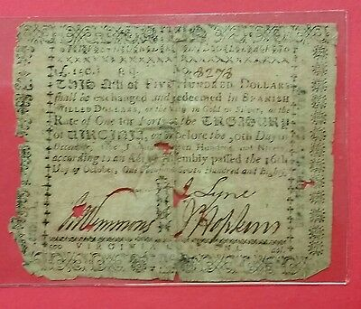 1780 State of  Virginia $500 Note