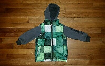 Hurley Boys Jacket Hoodie With Puffy Vest SIZE 3T Full Zipper