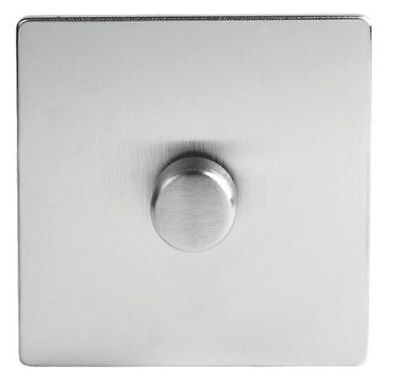 Schneider Screwless Flat Plate 1 Gang 2Way 400w Dimmer Switch Stainless Steel
