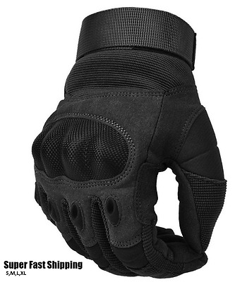 Adjustable Men's Tactical Gloves Hard Knuckle Sewn-in Brass Army Knuckles Black