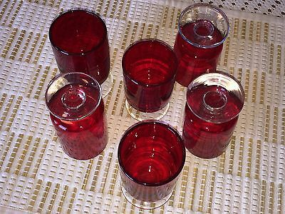 Lot of 6 Vintage Liqueur Glasses – Small Ruby Red Glass Set –Clear Stem Goblets