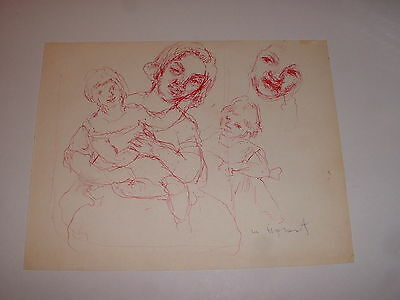 VERY RARE EARLY ORIGINAL DRAWING by WILLIAM MEYEROWITZ MOTHER & CHILD LISTED ART