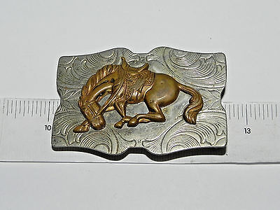 Vintage Silver Tone and Brass Horse Belt Buckle