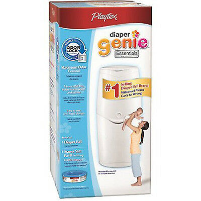 DIAPER GENIE Essential Pail Playtex System Odor Lock With STARTER REFILL PACK