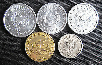 5 Different Coins from Albania: 5 to 50 Qindarka and 20 Leke