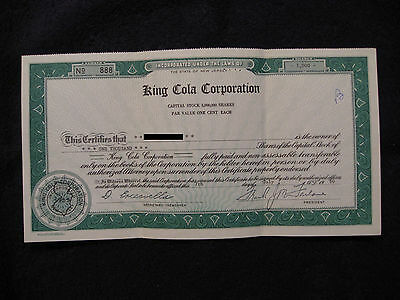 1960 King Cola Corporation Stock Certificate 1000 Shares