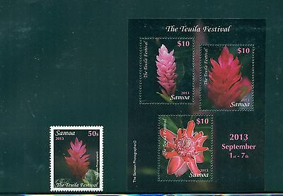 Samoa #1161-62 - 2013 Flowers set and sheet VFMNH CV $27.00