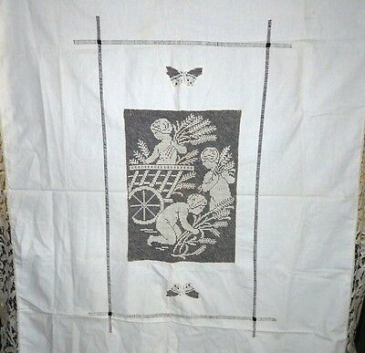 Beautiful Antique Figure Lace Table cloth with Three Cherubs and Butterflies