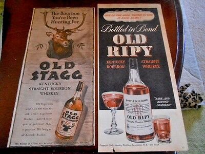 (2) 1945 Whiskey Advertisements-Old Stag & Old Ripy