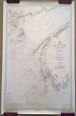 2 Sea Charts: BAY OF FUNDY, NORTHERN PART (1922) & SOUTHERN PART (1923)!