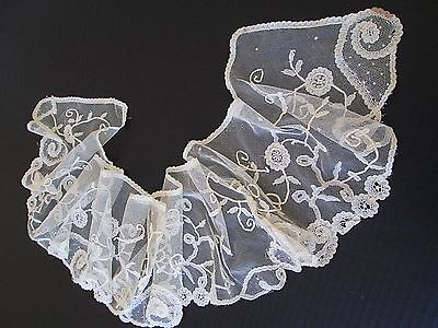 Antique French Princess Net Lace Trim/flounce/collar... ..collector ..study