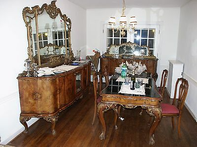 Antique Italian burled wood dining set table buffet mirror cabinet