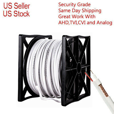 Rg59 White 500Ft Bulk Siamese Cable 20Awg+18/2 Cctv Security Camera Wire