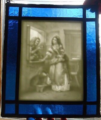 Vintage Antique Porcelain Lithophane Panel Stained Glass Women Marked Ppm 582