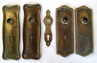 Antique Victorian Brass Door Plates-Two Pairs and One Escutcheon Plate