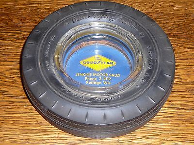 Vintage Goodyear Tire Advertising Glass Ashtray Jenkins Motor Sales Portage WI
