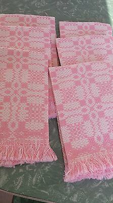Vintage Pink And White Tea Hand Towels Set of Six