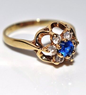 Vintage Sapphire & CZ Cluster 9ct Yellow Gold ring size H ~ 4