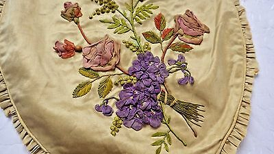 Silk Pillow Top w RIBBONWORK  Embrodiery Flowers & 3D Butterfly