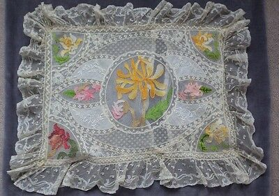 Rare NORMANDY LACE IN COLORS! Pillow Case with Silk Embroidery on Tulle